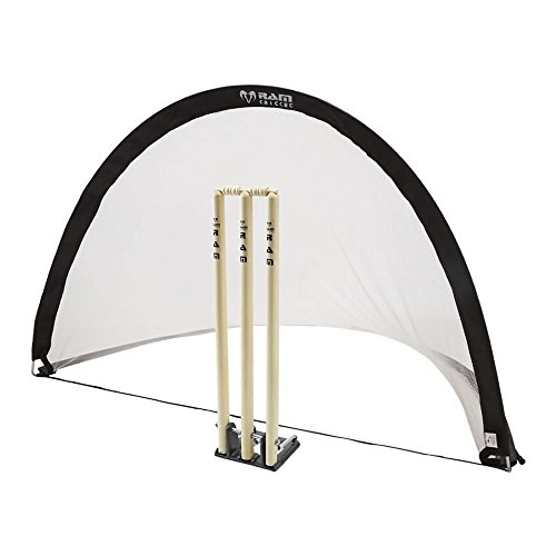Ram Cricket Pop-Up Ball Stop | Fielding Goal | Colour Black | Stumps Sold Separately | Single Net Carry Bag & Pegs Included | Lightweight & Collapsible