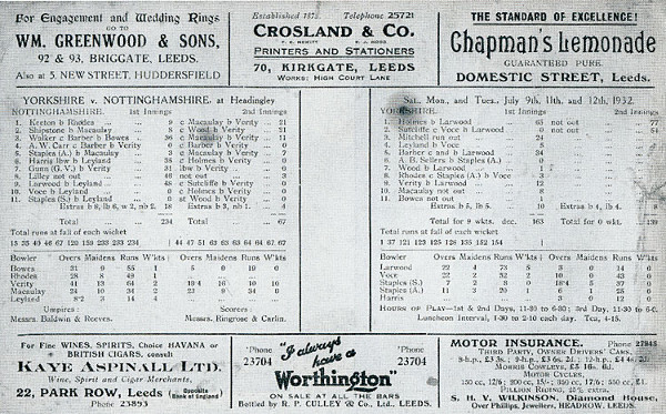 Hedley Verity Scorecard, 1932
