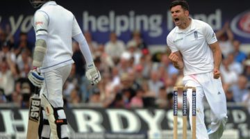 James Anderson verbals with Angelo Mathews
