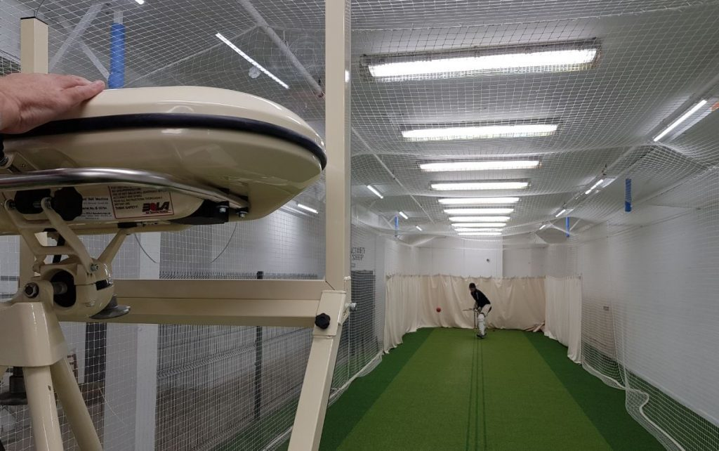 cricket nets and bowling machine