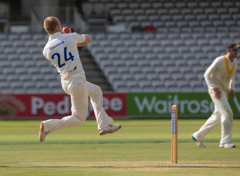 Leeds Bradford MCCU bowler Archie Ogden delivers at Lord's