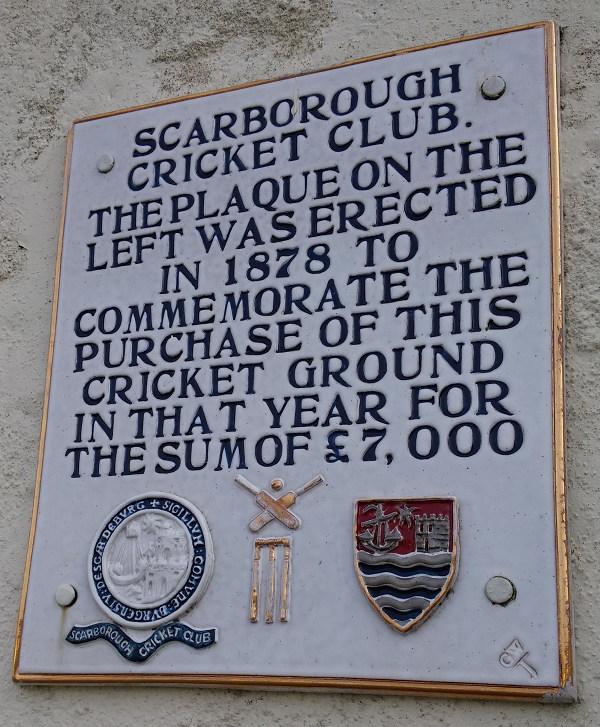 scarborough cricket club plaque