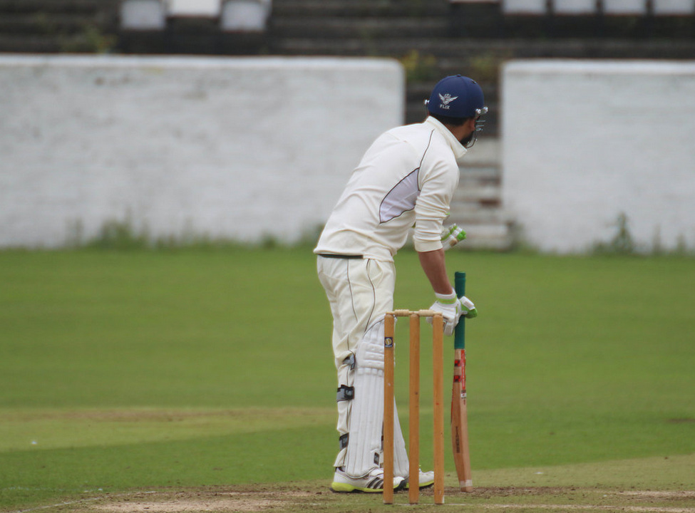 cricketer taking guard