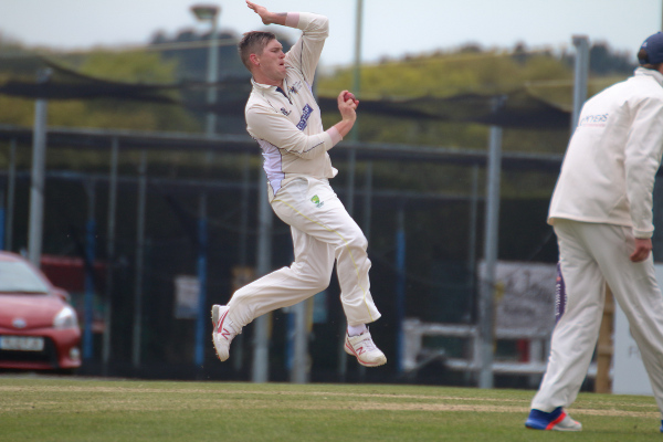 Kyle Brockley bowls for york cricket club