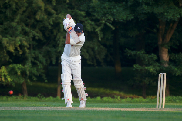 cricketer drives the ball