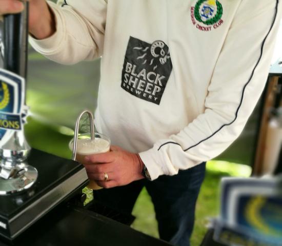 black sheep beer at the cricket