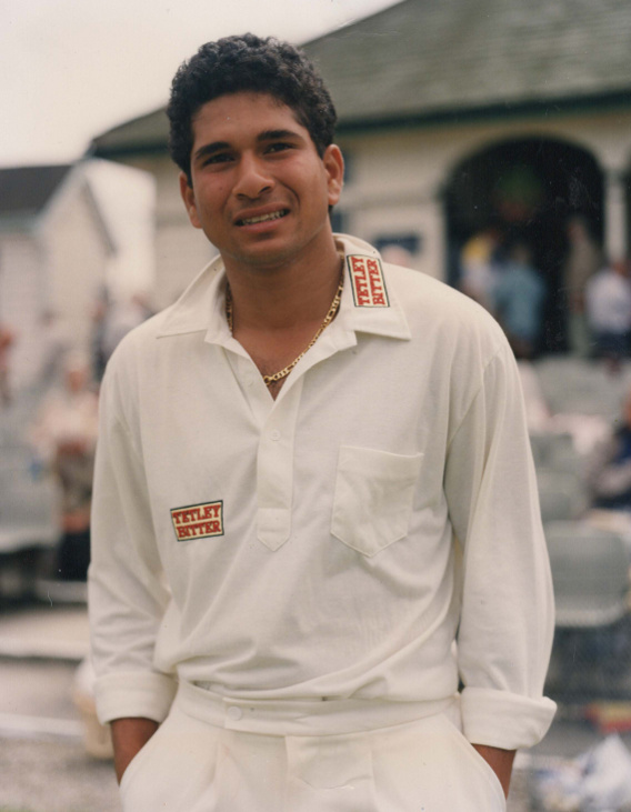 sachin tendulkar in his yorkshire ccc shirt