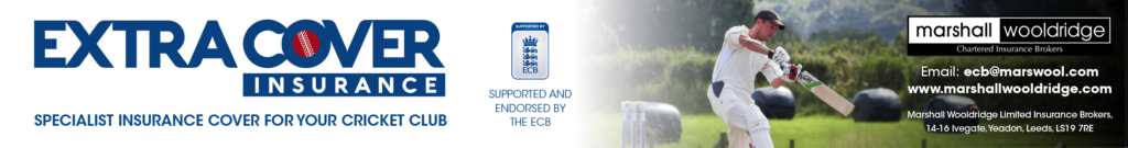 cricket club insurance banner with a batsman playing a shot with green fields behind him