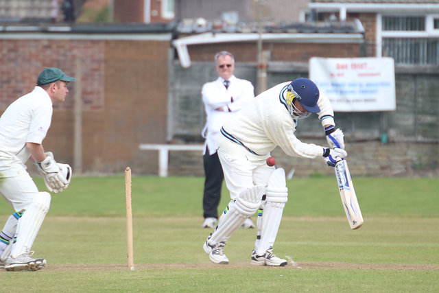 a batsman is hit high up on the pads, photo is sideways on from point