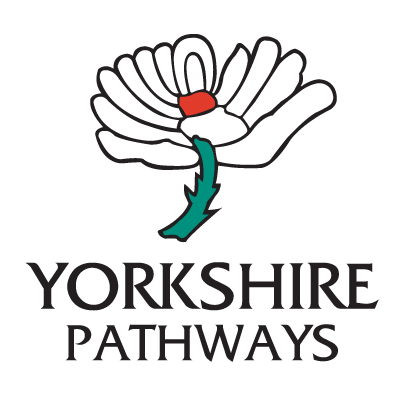 Yorkshire-pathways cricket logo with Yorkshire white rose and Yorkshire Pathways in black bold letters underneath