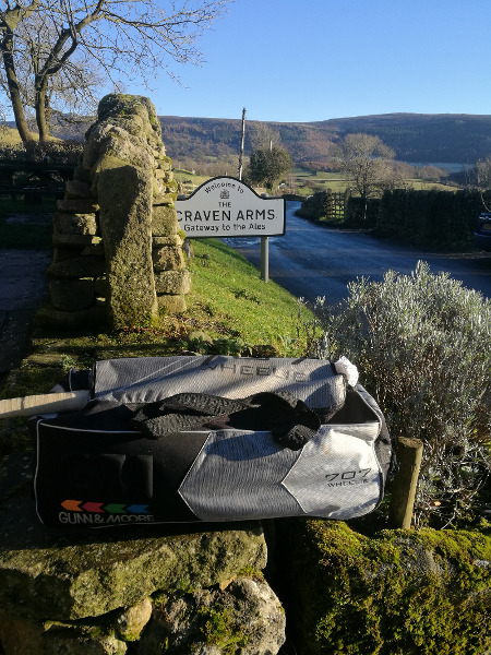 cricket bag near craven arms sign in appletreewick