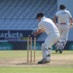 picture of a wicketkeeper removing the bails (picture taken from behind the player)