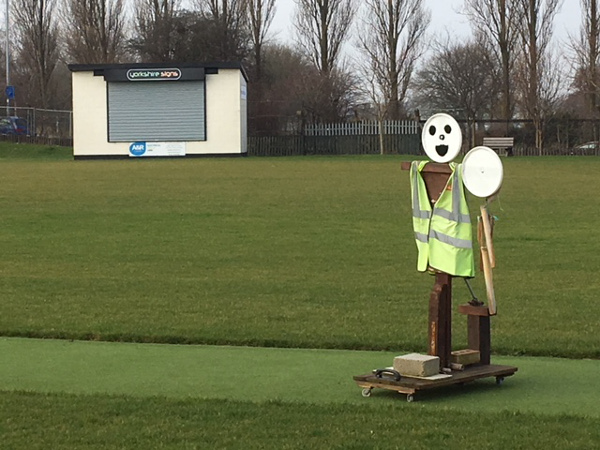 Fred the umpire scarecrow at the protecting the wicket at Hunslet Nelson cricket club