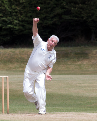 Yorkshire Over 60s Martin Ivill bowling