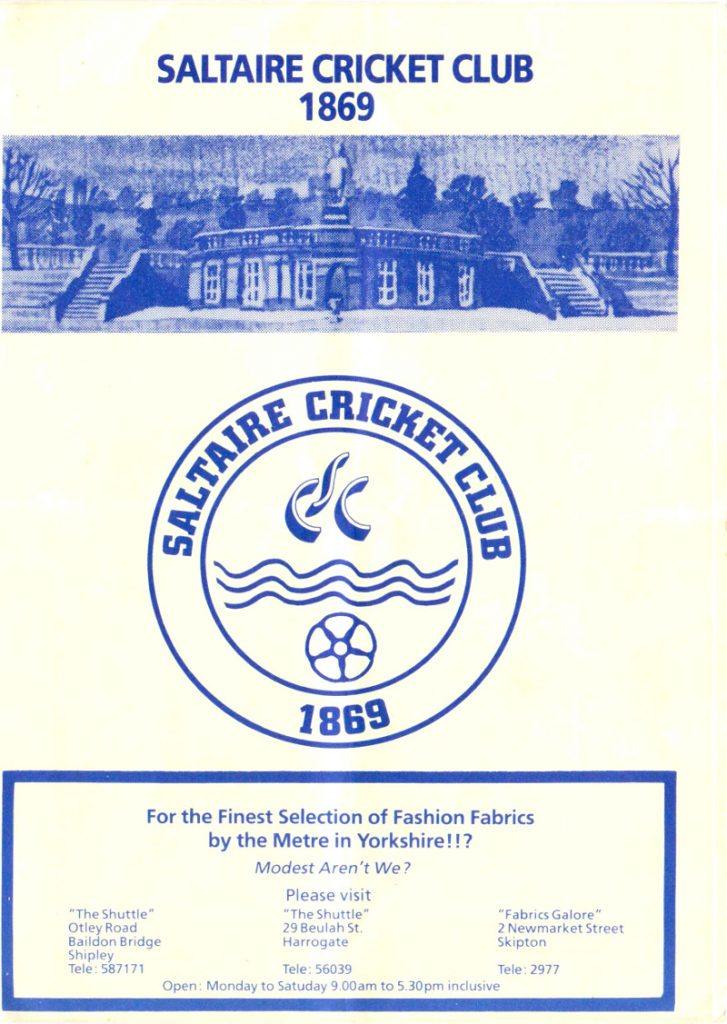 saltaire cricket club programme