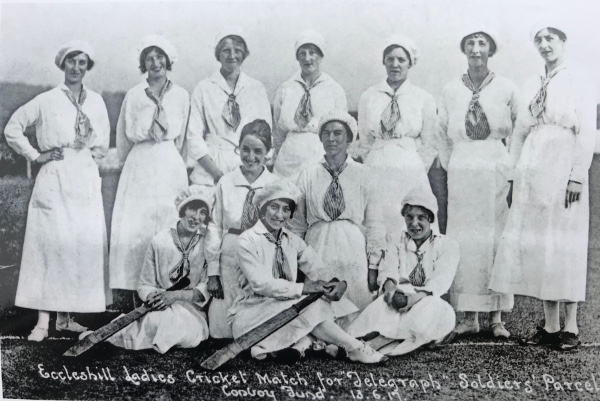 Women cricketers from Eccleshill playing to raise funds for soldiers 1917