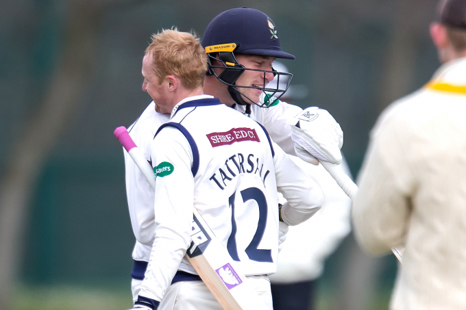 jonny tattersall celebrates his first-class hundred
