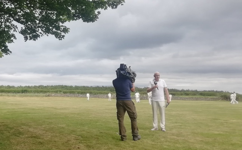 Harry Gration filming Lockton Cricket Club