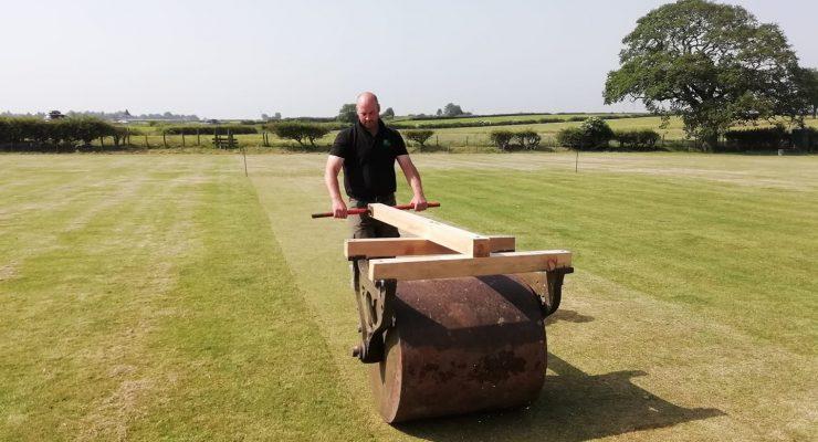 Jim rolls the wicket at Lockton Cricket Club