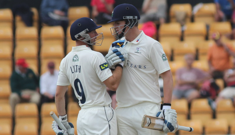alex lees and adam lyth celebrate for yorkshire