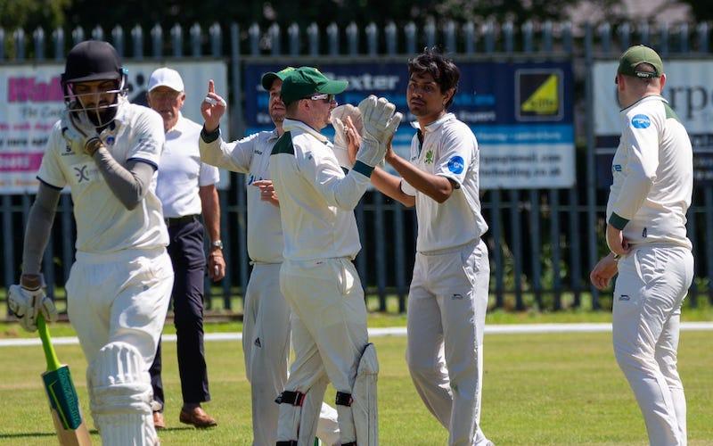 crossflatts CC celebrate a wicket