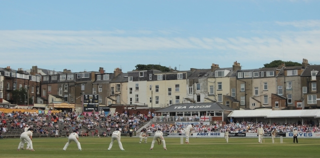 Liam Plunkett bowls in Scarborough Cricket Festival