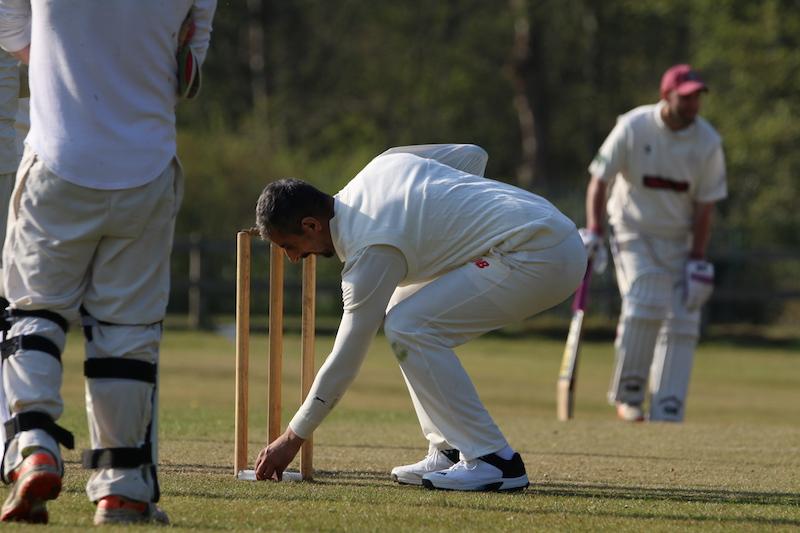 recreational cricketer gets hand sanitiser